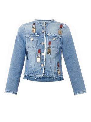 Lipstick-embellished denim jacket