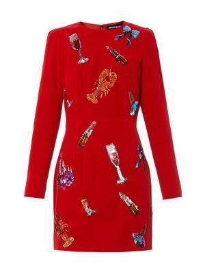 Sequin-embellished velvet dress