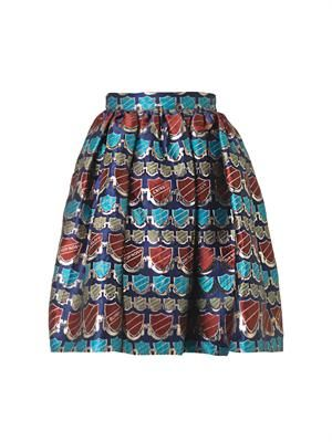 Crest-jacquard dirndl skirt
