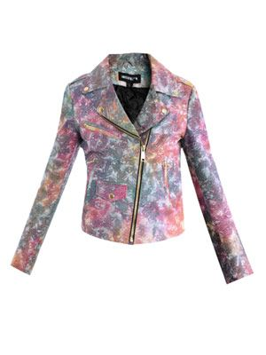 Tie-dye leather biker jacket