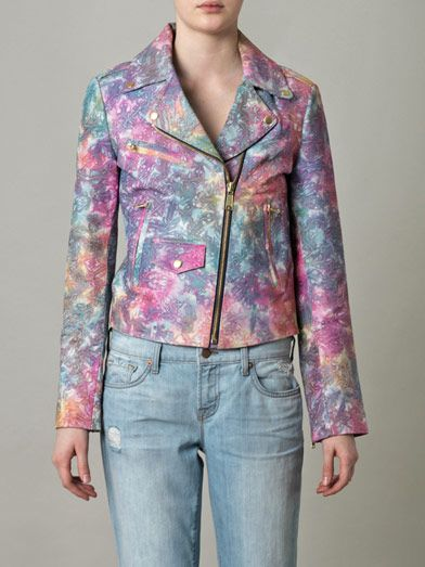 House Of Holland Tie-dye leather biker jacket