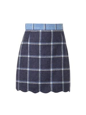 Coco check wool skirt