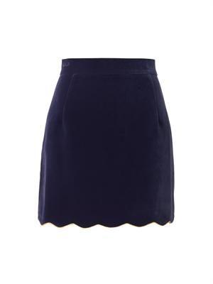 Scalloped-hem velvet mini skirt