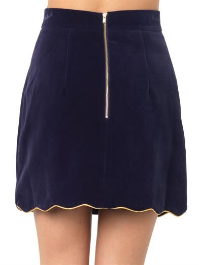 House Of Holland Scalloped-hem velvet mini skirt