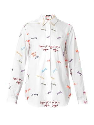 Scribble-embroidered cotton shirt