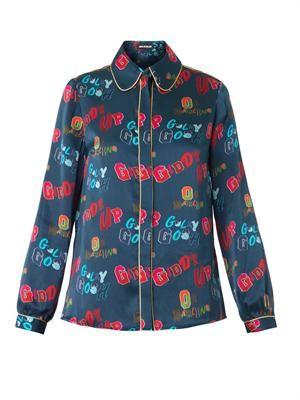 Giddy Up-print silk shirt