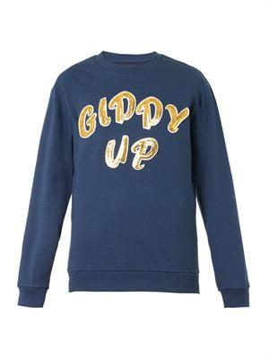Giddy Up-embellished sweatshirt