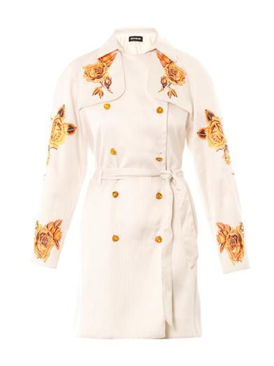 House Of Holland Rose-embroidered trench coat