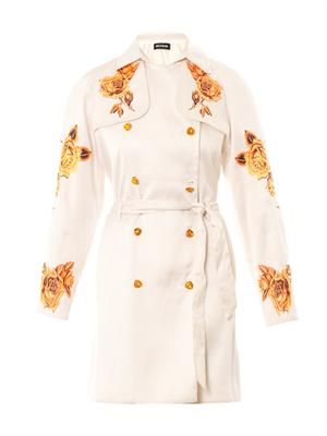 Rose-embroidered trench coat