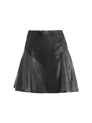 Leather perforated panel skirt