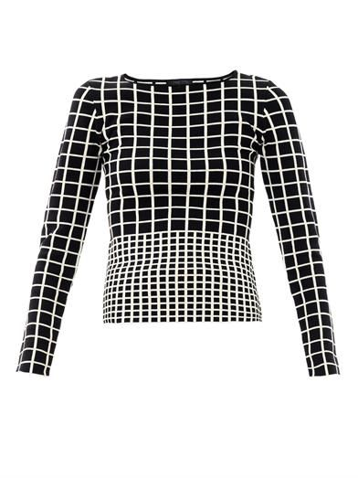 Ohne Titel Grid- intarsia-knit sweater