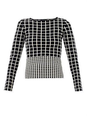 Grid- intarsia-knit sweater