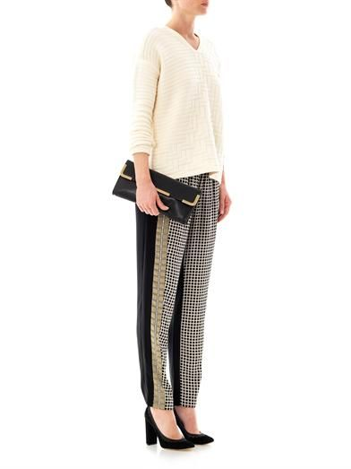 Ohne Titel Grid-print silk trousers
