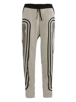 Stripe side print silk trousers