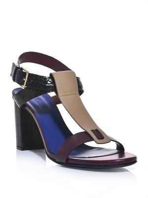 Block colour leather sandals