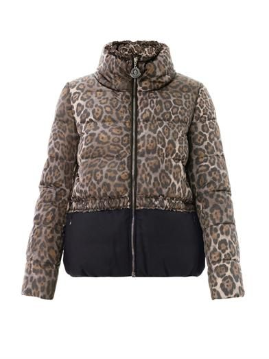 Moncler Argentee leopard and flannel coat