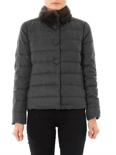Moncler Cirse fur-collar quilted coat