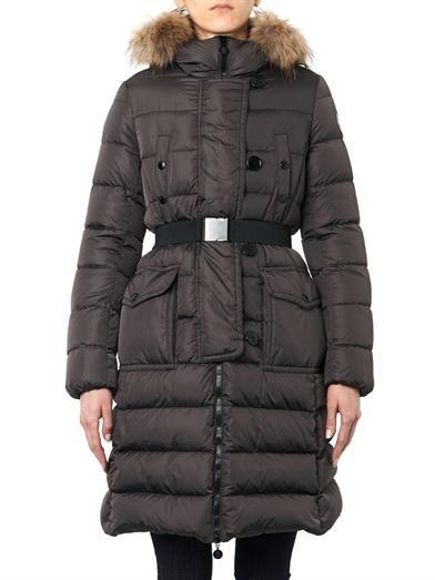 Moncler Genevrier fur-trim quilted down coat