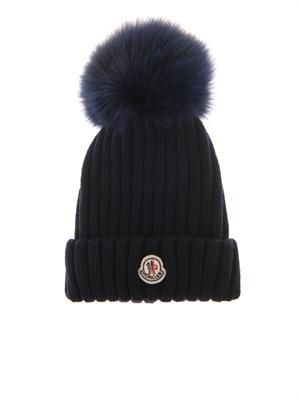 Fur pompom wool-knit beanie