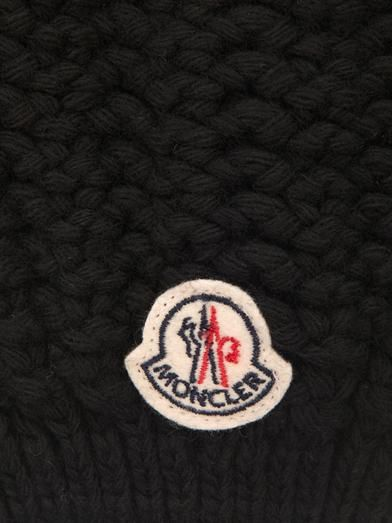 Moncler Fur-pompom knitted beanie