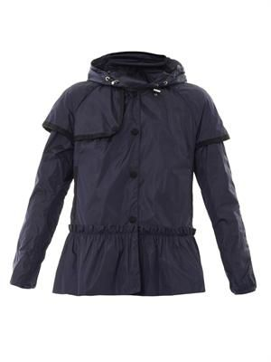 Belleuse pleated-peplum parka