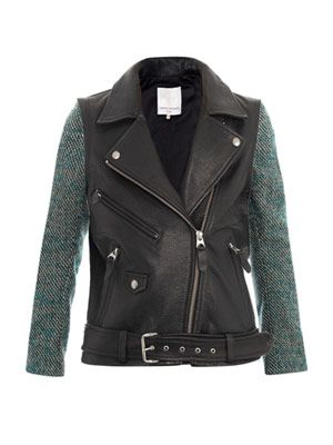 Moto tweed and leather jacket