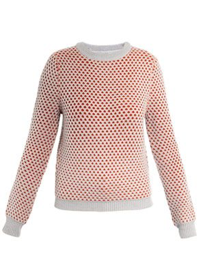 Bi-colour honeycomb sweater