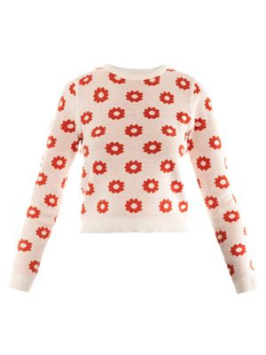 Floral intarsia reversible sweater