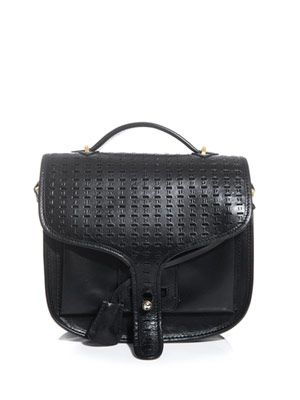 Ace perforated-leather satchel