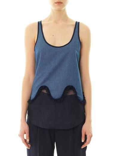 Julien David Silk-organza hem denim tank top
