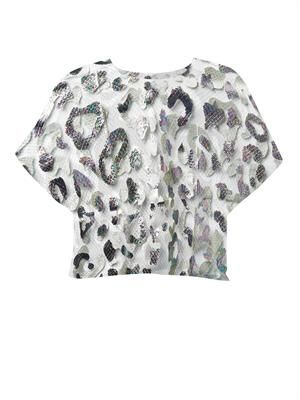 Foil-print tulle top