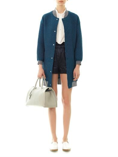 Julien David Textured-lurex silk-blend coat