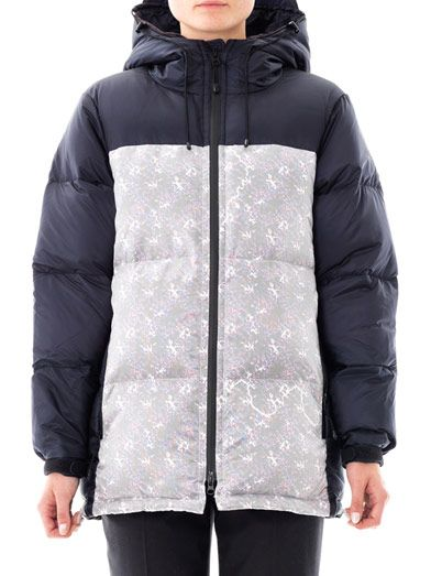 Julien David Printed panel down coat
