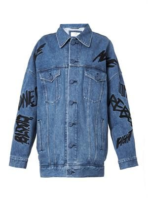 Embroidered-slogan denim jacket