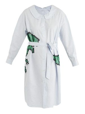 Tyrannosaur embroidered shirt dress