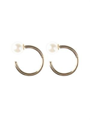 Pearl and gold small hoop earrings