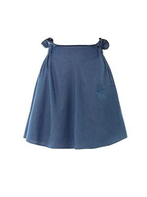 Paper-bag waist denim skirt