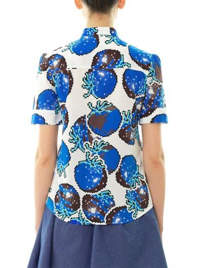 Julien David Cosmic sea fruit-print cotton shirt