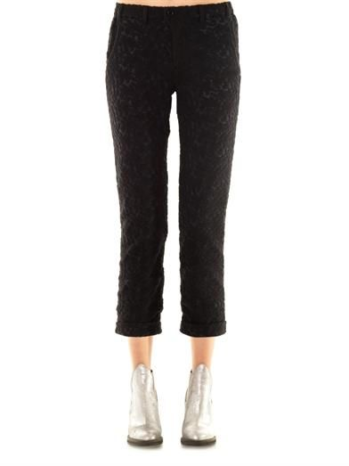 Julien David Wool-lace cropped trousers