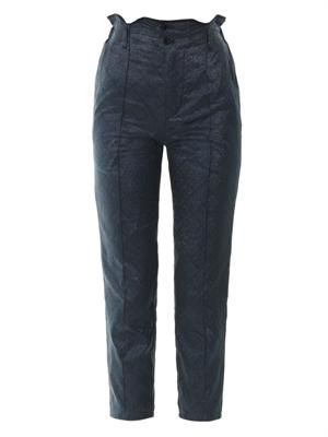 Iridescent jacquard slim-leg trousers