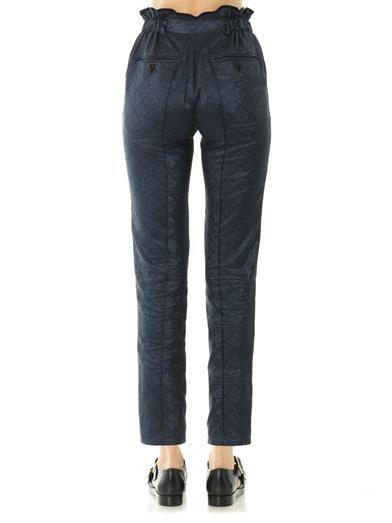 Julien David Iridescent jacquard slim-leg trousers