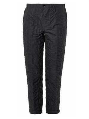 Wrinkle-textured cotton trousers