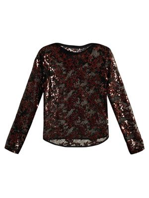 Sequin embroidered lace top