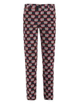 Pixelated rose jacquard trousers