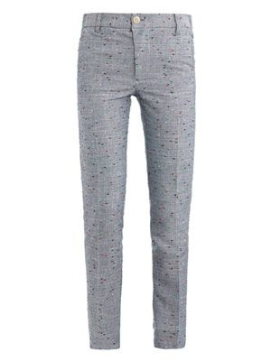 Woven dot cotton tailored trousers