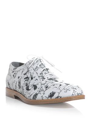 Scribble-print laser cut brogue shoes