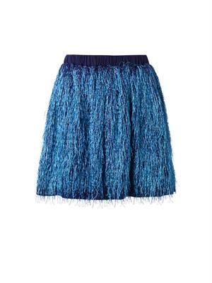 Metallic fringed mini skirt