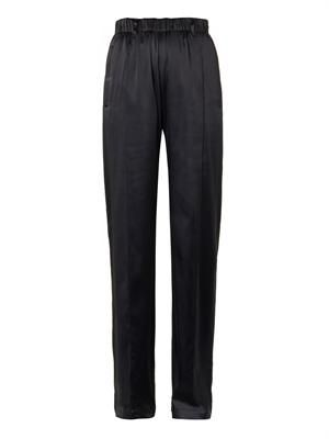Stretch silk-satin relaxed-leg trousers