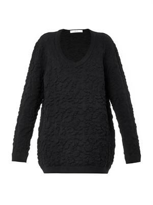 V-neck brocade-knit sweater