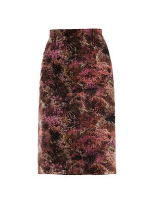 Palm-print pencil skirt